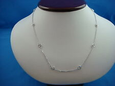 """14K WHITE GOLD 10 STATIONS 2 CT """"DIAMONDS BY THE YARD"""" NECKLACE, 16 INCH LONG"""
