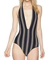 Billabong Women's Swimwear Black Size Medium M One-Piece Striped $79 #141