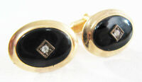 Vintage Deco Style Mid-Century Anson Onyx And Rhinestone Gold Tone Cufflinks