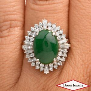 GIA Natural Diamond 5.67ct Green Jade Platinum Cocktail Ring 11.1 Grams NR