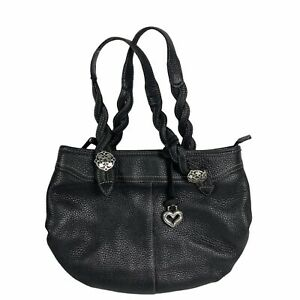 Brighton C208998 Small Hobo Handbag Purse Black Pebbled Leather