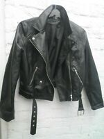 Black faux soft to touch leather biker jacket size 14 womens girls not worn