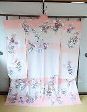 Furisode Silk Kimono Women/Pink Elegant/Dress Geisha Costume/Japanese Vintage 67