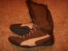 Puma Leather Boots Brown Zipper Womens Size 10