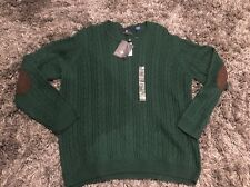 $85 ARGYLECULTURE BY RUSSELL SIMMONS COTTON GREEN ELBOW SUEDE PATCHES SWEATER