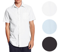Berlioni Italy Men's Premium Classic Button Down Short Sleeve Solid Dress Shirt