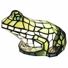 Bieye Tiffany Style Stained Glass 10-inch Frog Accent Table Lamp