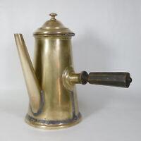R65 ANTICA CIOCCOLATIERA TEIERA CAFFETTIERA IN OTTONE MANICO IN LEGNO 1800