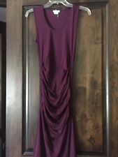 New Ingrid Isabel Ruched Stretch Sleeveless Tank Maternity S Dress Purple