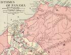 1914 Antique PANAMA CANAL Map Vintage Isthmus Of Panama Map Original 9282