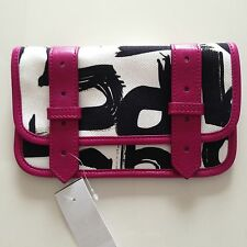NWT PROENZA SCHOULER PS1 Wallet Canvas w Leather Trim White Black Fuchsia