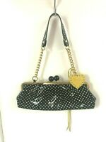 Vintage ROBERTA GANDOLFI Black Polka Dot Clutch Purse Handbag Made in Italy