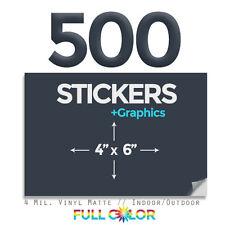 "500 Custom Quality Vinyl STICKERS + FREE Graphics & Shipping (4"" x 6"")"