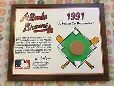 "1991 MLB Atlanta Braves Infield Dirt "" A Season To Remember "" Wall Plaque"