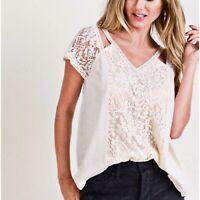 Boho Women's Top Lace Hi Low Cold Shoulder Short Sleeve Size Large Cotton