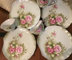 Lefton Green Heritage Rose #3071 Luncheon Set for Three w/ Extra Plate