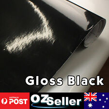 1.51x 2M Vinyl Wrap Gloss Black Roll Decal Sticker Car Hood Bonnet Overlay Cover