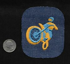 Vintage 60-70s DENIM Motorcycle Jacket Biker Motocross Off Road Racing Patch B