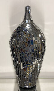 Modern Silver Mirrored Glass Mosaic Large Vase Tall