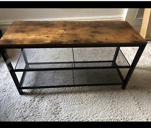 Industrial Shoe Bench Vintage Rustic Hallway Metal Tier Storage Rack Shelf Unit