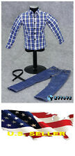"1/6 clothes for 12"" Figure blue Plaid  long sleeve shirt Jeans for hot toys ❶US❶"