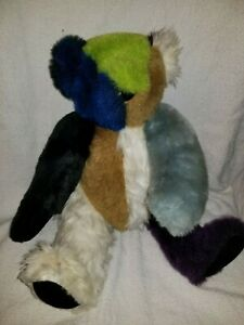 "Vermont Teddy Bear 16"" Patchwork Multicolored Green Aqua Purple mixed fur RARE"