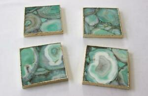 Green Agate Set Of 4 Large Square Coffee Tea Coasters Personalized Moments
