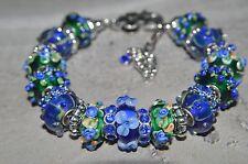 European Style Murano glass bead Handmade Green and Blue  charm bracelet USA