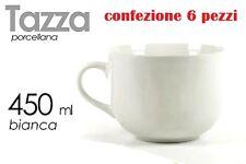 Set 6 Pezzi Tazza Porcellana Bianca Latte Colazione 450ml dfh