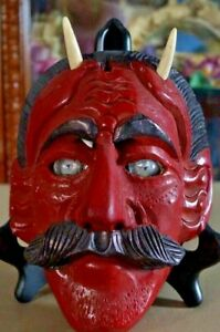 Antique Dance Hand Carved Wood Devil Mask with Glass Eyes & Goat Horns (?) Other