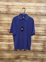 Footjoy FJ Mens Stripe Lisle Double Knit Collar Blue White Polo Shirt Medium New