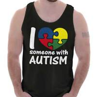I Love Someone With Autism Support Awareness Adult Tank Top T-Shirt Tees Tshirt