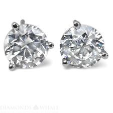 14K White Gold Round Stud Diamond Earrings 0.9 CT VS1/D Wedding Enhanced