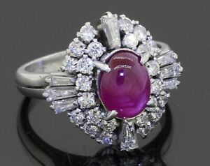 Heavy Platinum 3.30CTW VS diamond/7.6 X 5.8mm Star ruby cocktail ring size 5
