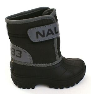 Nautica Black & Gray Albemarle Boots Infant Boy's Size 6 NEW