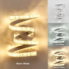 Modern Spiral LED Wall Light Crystal Bedroom Sconces Lamp for Room Bedside Decor