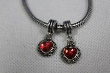 2 x  DANGLE  Silberlook Bead European Bead Metall  Modulperlenarmband HERZ 23 **