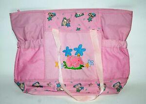 Borsa fasciatoio per neonato 40x30 cm rosa foderata per cambio pannolino