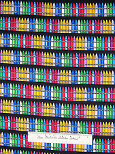 Timeless Treasures Fabric - Multicolored Crayon Stripe Black Lloyds Barton /Yd