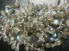 50PC NATURAL LABRADORITE TEARDROP FACETED WIRE WRAPPED LINK 5X8 MMGEMSTONE BEADS