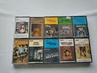 Waylon Jennings BULK Lot X 10 Cassette Tapes - WHAT GOES AROUND, WW II, LIVE+++