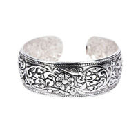 New Tibetan Silver Totem Bangle Carved Lucky Flower Bangle Cuff Bracelet GS