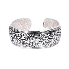 New Tibetan Silver Totem Bangle Carved Lucky Flower Bangle Cuff Bracelet L BP