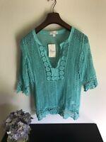 Misia Woman Beach Top Aqua Blue Crochet 3/4 Sleeve Sz S