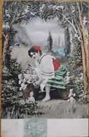 Multiple Baby 1908 French Fantasy Postcard: Woman & Basket of Babies