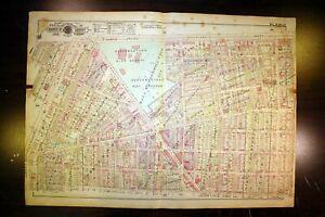 Antique Plat Map Detroit MI North Grand Blvd West Northwestern High School 1918