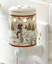 Snowman Heritage Collection Accent Wax Warmer Holiday Swivel Red Trim A