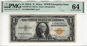 1935 A $1 SILVER CERTIFICATE NORTH AFRICA FR.2306  RC BLOCK PMG CU 64 (902C)