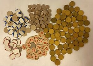 Vintage Wooden and Cardboards BINGO Marker Pieces-Numbers-Blanks