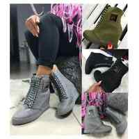 New Ladies Womens Wedges Lace Up Sneakers Ankle Boots Shoes Hi High Top Size uk
